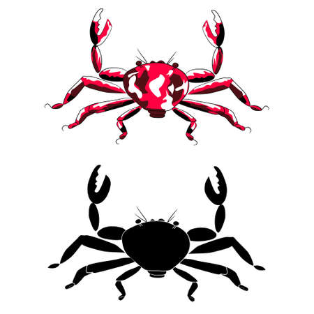 Red crab and silhouette (isolated) Illustration