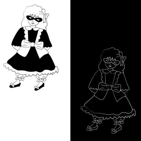 Girl in mask dressed in vintage style for Halloween (set of 2 monochrome sketch variations)
