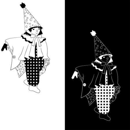 Boy dressed as wizard for Halloween (set of 2 monochrome sketch variations) Illustration
