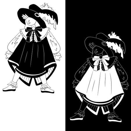 Boy dressed as musketeer for Halloween (set of 2 monochrome sketch variations)