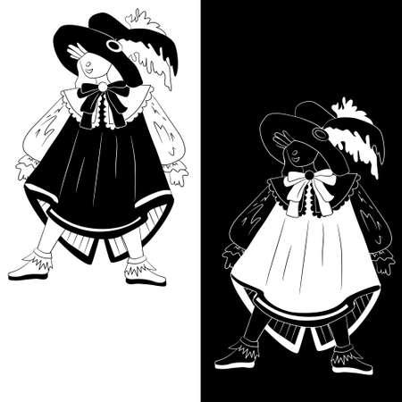 mosquetero: Ni�o disfrazado de mosquetero para Halloween (juego de 2 variaciones dibujo blanco y negro) Vectores