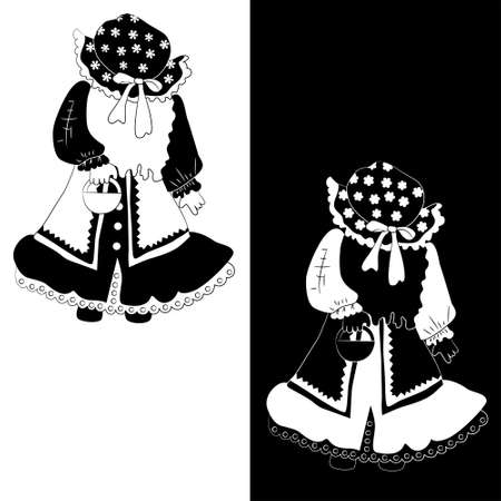 Girl dressed as red riding hood for Halloween (set of 2 monochrome sketch variations)