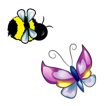 Summer isolated elements for design (bee and butterfly)