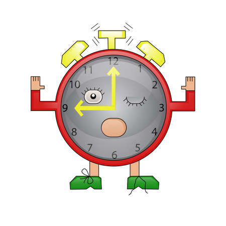 Cartoon red alarm clock rings and wakes up (isolated character)  Vector