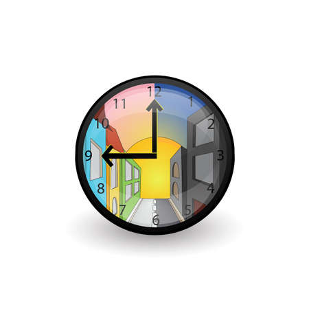 Clock with cartoon city landscape - symbol of changing day and night