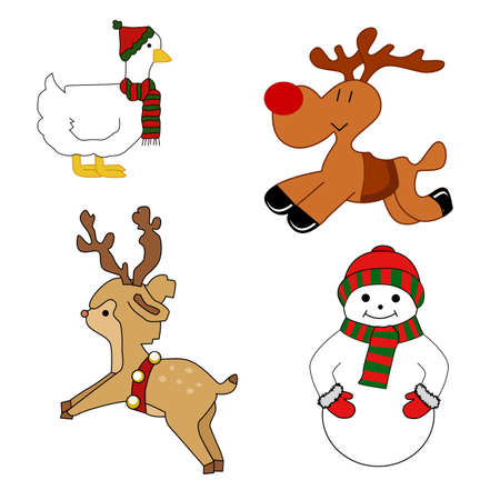 Set of isolated Christmas elements for design (deer, snowman, goose) Vector