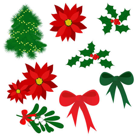Set of isolated Christmas elements for design (holly berry, mistletoe, poinsettia, tree, bows)
