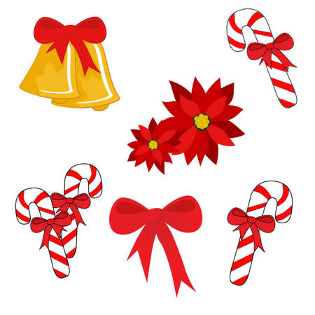 Set of isolated Christmas symbols (bells, candy cane, bow, poinsettia)