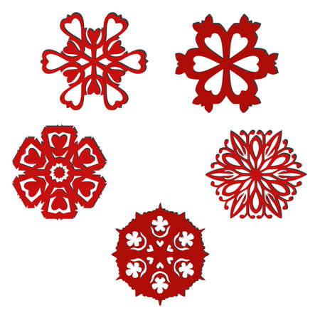 Set of isolated ornamental elements with hearts