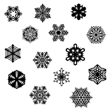 Set of pretty isolated snowflakes Illustration