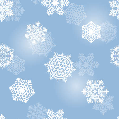 Frosty blue seamless background with pretty snowflakes