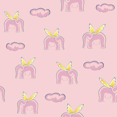 Cute seamless background with pink fliyng elephants and clouds