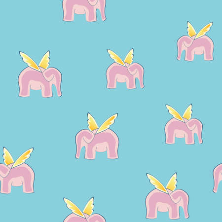 Cute seamless background with pink flying elephants Vector