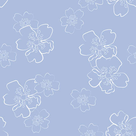 Blue seamless background with sakura flowers in sketch style