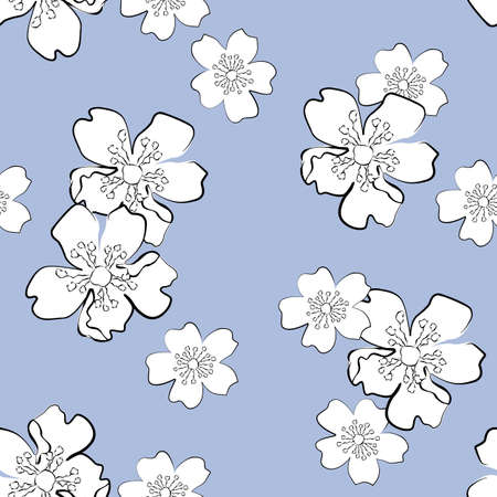 Blue seamless background with white sakura flowers in sketch style