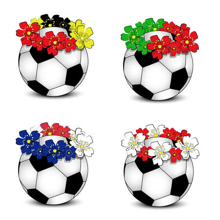Collection of floral national team flags with balls  group B of European football championship 2012