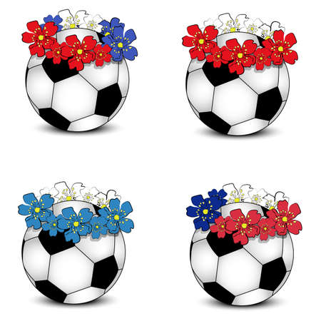 Collection of floral national team flags with balls  group A of European football championship 2012