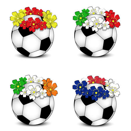 Collection of floral national team flags with balls (group � of European football championship 2012)