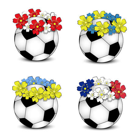 Collection of floral national team flags with balls (group D of European football championship 2012)