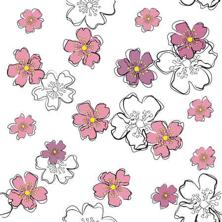 sakura flowers: Cute seamless background with pink sakura flowers in sketch style