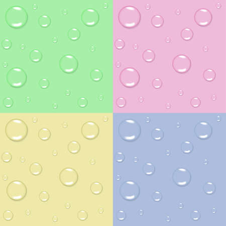 Set of 4 pastel seamless backgrounds with water drops Vector