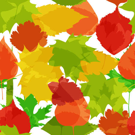 Cute seamless background with bright autumn leaves