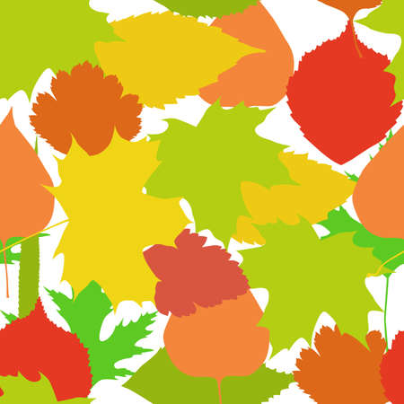 Seamless background with bright autumn leaves Vector