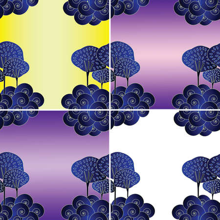 Seamless background with trees and clouds in asian style (set of 4 color variations) Illustration
