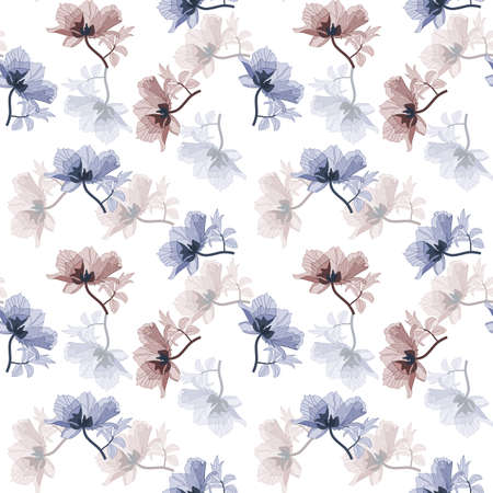 Seamless background with blue and purple poppies in retro style