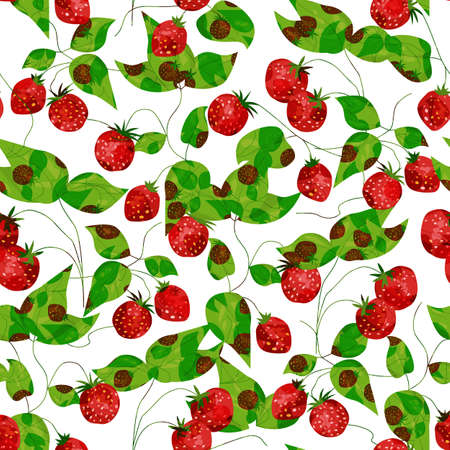 Seamless with a lot of strawberries on white background