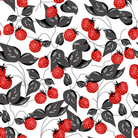 Seamless with red strawberries and grey leaves on white background