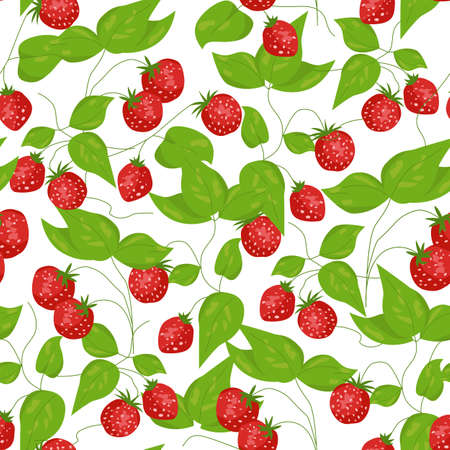 Seamless with a lot of strawberries on white background Vector