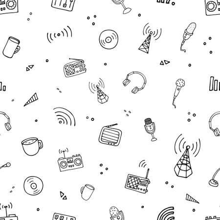 World Radio Day pattern. Vector illustration of radio Vektorové ilustrace