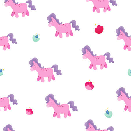 Seamless baby background with fairy pink ponies