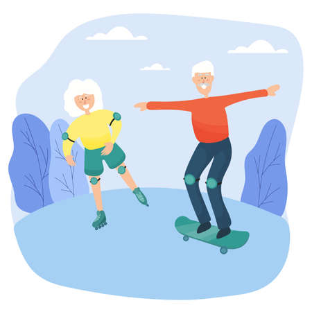 Elderly couple. Grandma on roller skates and grandfather on skateboard spend time together in the park