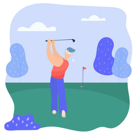 Grandpa plays golf. Grandpa hits the ball with a golf club.