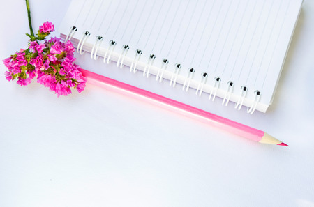 spiral: empty note book, pink pencil and flower on a white textile background Stock Photo