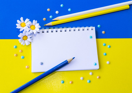 yellow paper: Blank notepad decorated by artificial camomiles and colorful pencils and beads on the yellow and blue cardboard paper