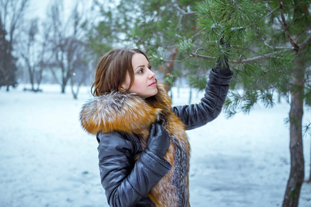 Winter portrait of beautiful young woman with snowflakes on hair, wearing fur and leather coat and black gloves, walking in a park, touching and looking at pine tree branch Stock Photo