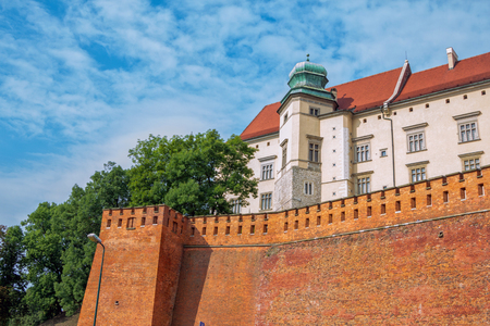 architecture monumental: Krakow  Poland - August 14, 2017: Wawel Royal Castle, view of the Jordan Tower and defensive fortification. Medieval residence of kings.