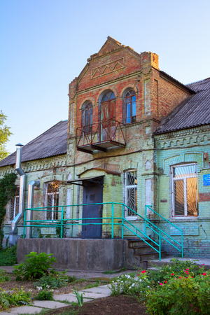 Zaporizhzhia  Ukraine - September 3, 2017: view of the old historical house of doctor Theodore Gotman, built in 1912 by Mennonite settlers in Hospital Town