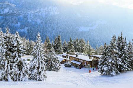 station ski: A ski station. Switzerland, Villars. Stock Photo