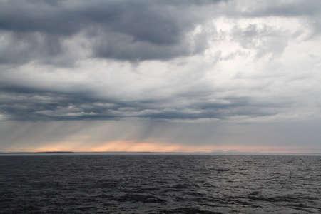 Severe weather on Ladoga lake in Russia