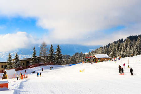 very cold: Winter sports in Switzerland, Villars-sur-Ollon Stock Photo