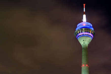 nightview: Television tower in Dusseldorf, Germany.