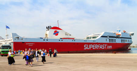 A ferry boat in the Mediterranean from Corfu in Greece to Bari in Italy, May, 2014. Editorial