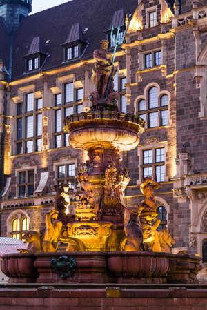 Jubilee fountain in front of the town hall in Wuppertal-Elberfeld near Nacht. Germany