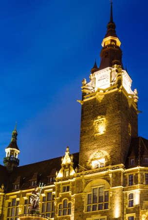 City Hall in Wuppertal-Elberfeld at night, Germany, NRW. Editorial