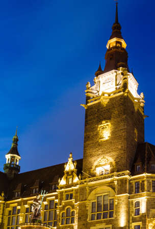 City Hall in Wuppertal-Elberfeld at night, Germany, NRW. Editorial