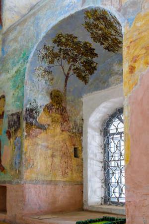 Wall painting in the Alexander Svirsky Monastery in Staraya Sloboda, Russia. July 2016 Standard-Bild